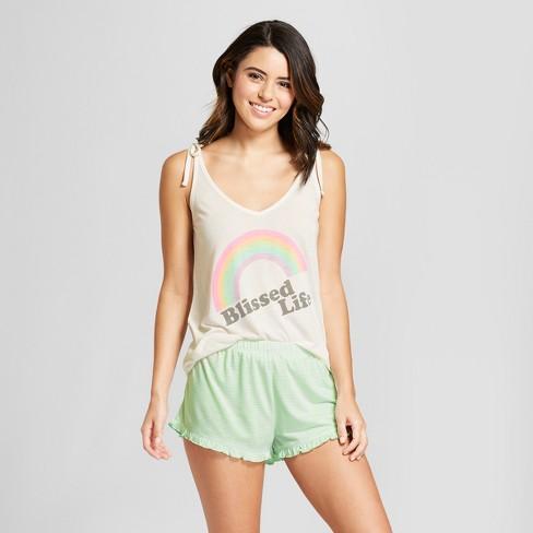 be53038aa6f62 Women s Tie Strap Tank Top And Shorts Pajama Set - Xhilaration™ White XL    Target