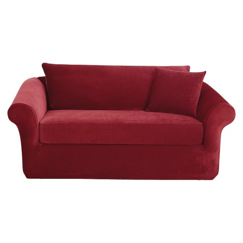 Stretch Pique 3 Piece Sofa Slipcover Garnet - Sure Fit