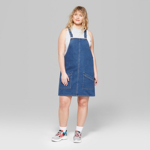 Womens Plus Size Denim Overall Mini Dress Wild Fable Medium Wash