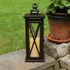 Criss Cross Metal LED Lantern With Battery Operated Candle Brown - LumaBase - image 4 of 4