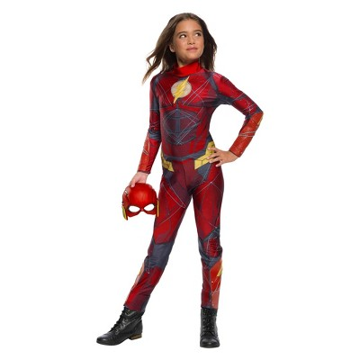 Charming Girlsu0027 Justice League Flash Jumpsuit Halloween Costume S