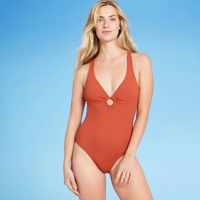 Women's Ribbed Ring Front One Piece Swimsuit - Kona Sol™ Cinnamon Orange