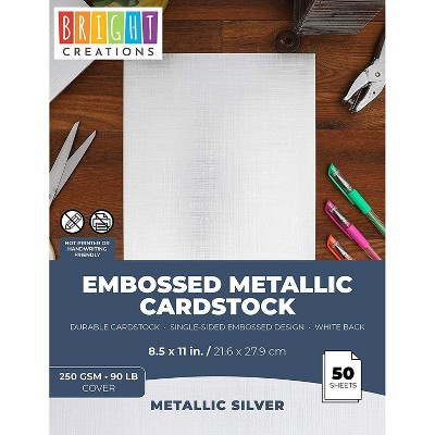 Juvale 50 Sheets Metallic Silver Cardstock Card Stock Paper Sheets for Arts Crafts, A4 Letter Size 8.5x11