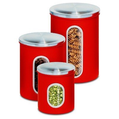 Honey Can Do® 3pc Stainless Steel Storage Canister Set - Red