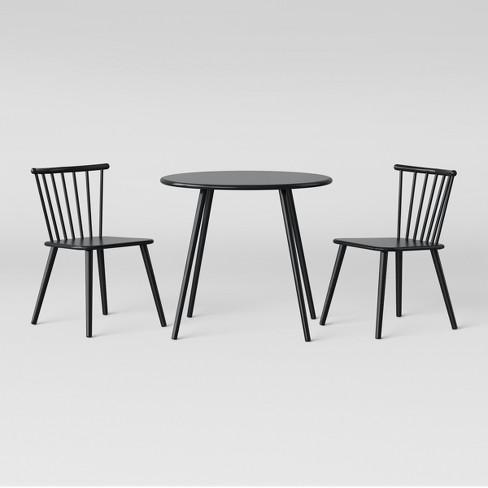 Tremendous Metal Windsor Table And Chair Set Black Pillowfort Inzonedesignstudio Interior Chair Design Inzonedesignstudiocom