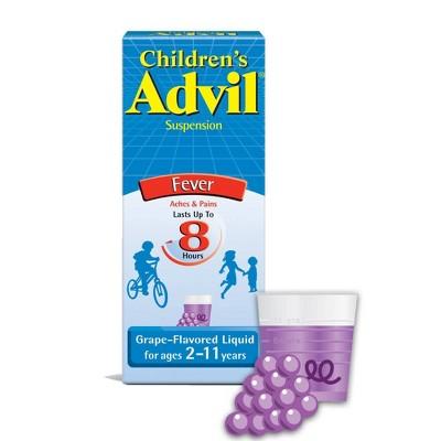 Children's Advil Liquid Fever Reducer/Pain Reliever (NSAID) - 100 mg Ibuprofen - Grape Flavor - 4 fl oz