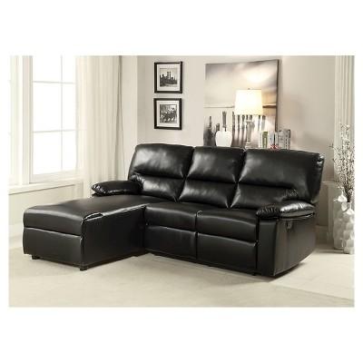 Acme Artha Sectional Sofa, Black Bonded Leather Match : Target