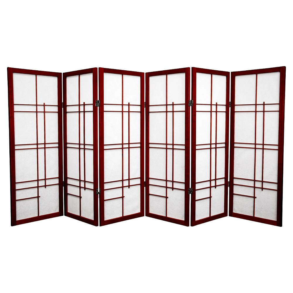 4 ft. Tall Eudes Shoji Screen - Rosewood (6 Panels), Red