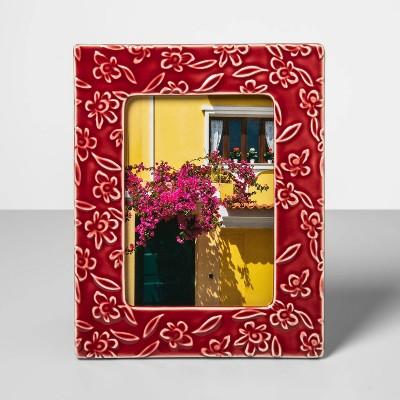 5  x 7  Stoneware Frame with Crackle Glaze Finish Red - Opalhouse™