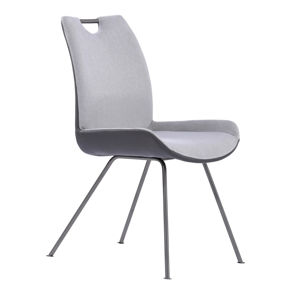 Armen Living Set of 2 Coronado Contemporary Dining Chair Gray, Front Pewter/Back Gray