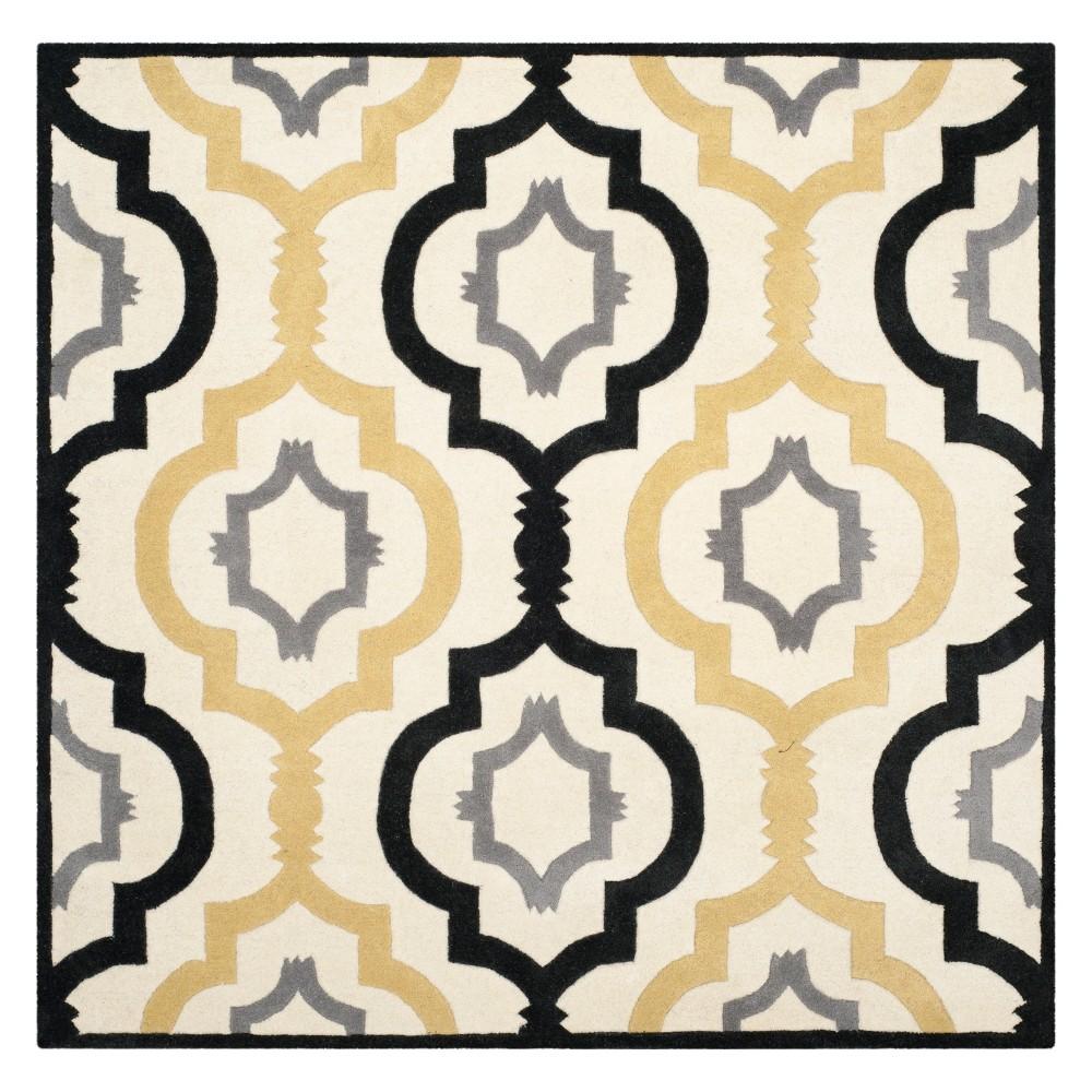 7'X7' Geometric Square Area Rug Ivory - Safavieh, White