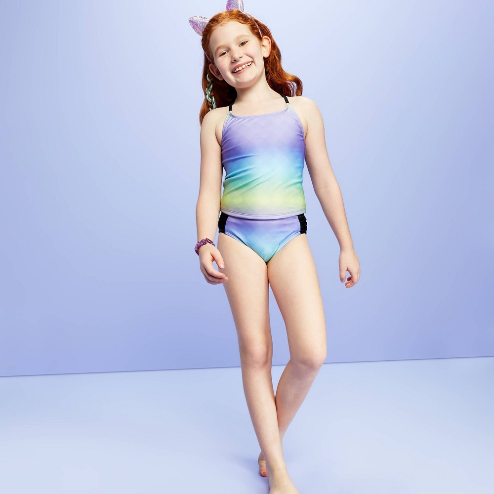 Image of Girls' Checker Gradient Tankini Top - More Than Magic Purple L, Girl's, Size: Large