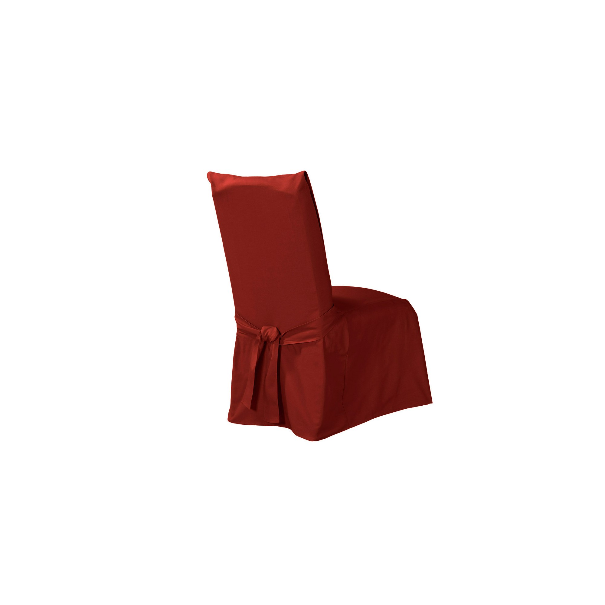 Cotton Duck Long Dining Room Chair Slipcover Claret - Sure Fit