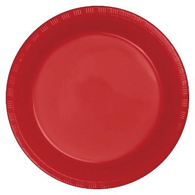 """Classic Red Plastic 7"""" Dessert Plates - 20ct"""
