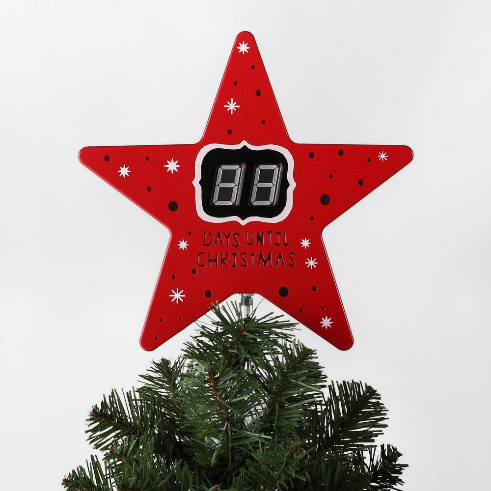"Image of ""10.7"""" x 8.5"""" Countdown Star Christmas Tree Topper with Clip Red - Wondershop"""