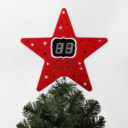 Countdown To Christmas.10 7 X 8 5 Countdown Star Christmas Tree Topper With Clip Red Wondershop