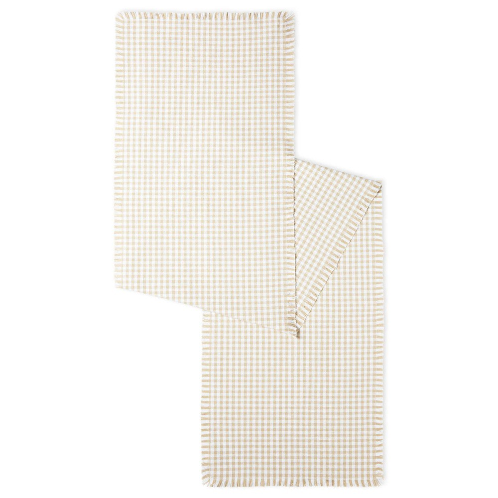 18 34 X 13 34 Cotton Gingham Fringe Table Runner Beige Town 38 Country Living