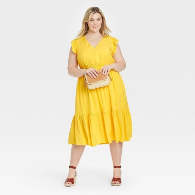 Women's Plus Size Flutter Sleeve Tiered Dress - Ava & Viv™
