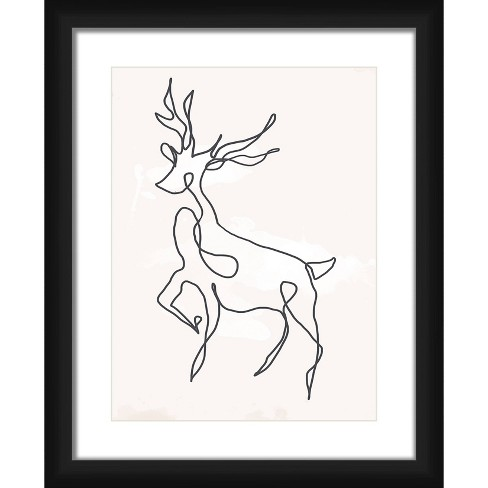 """18"""" x 22"""" Matted to 2"""" Reindeer Picture Framed Black - PTM Images - image 1 of 4"""