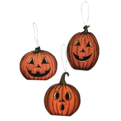 "Holiday Ornament 4.0"" Hallows Eve Pumpkin Ornaments Halloween Set 3  -  Tree Ornaments"