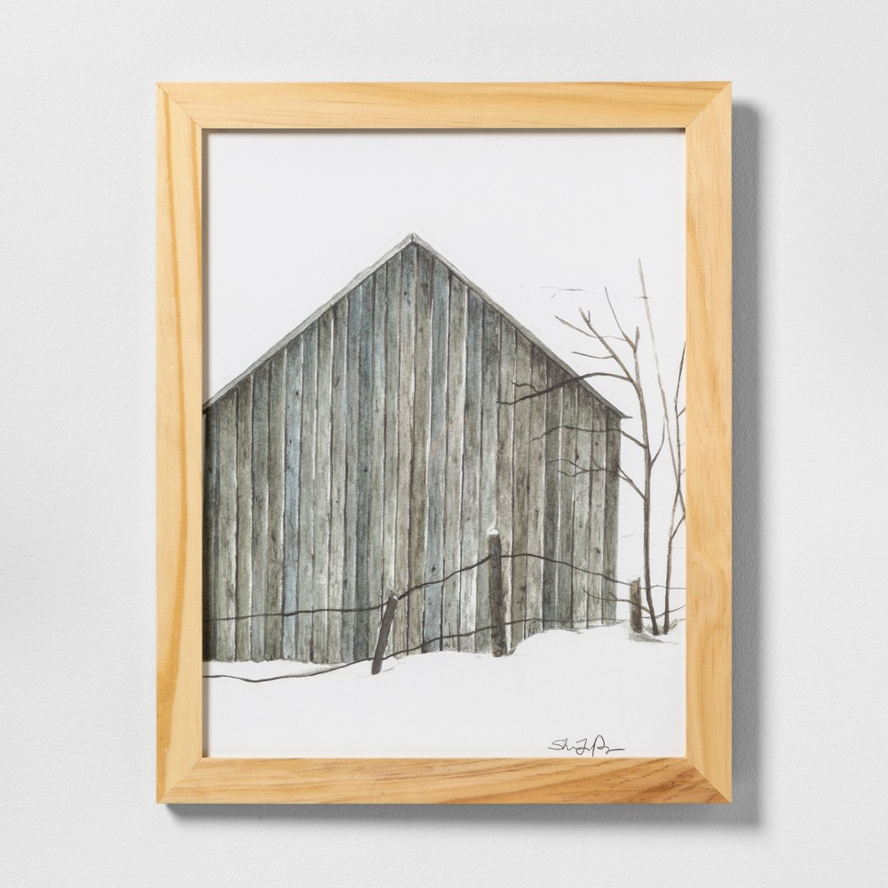 "Image of ""16"""" X 20"""" Sketched Barn Wall Art with Natural Wood Frame - Hearth & Hand with Magnolia"""