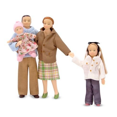 Melissa Doug 4 Piece Victorian Vinyl Poseable Doll Family For Dollhouse 112 Scale