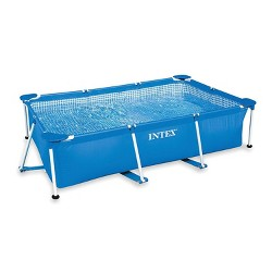 Intex 8.5ft x 5.3ft x 26In Rectangular Frame Above Ground Swimming Pool, Blue