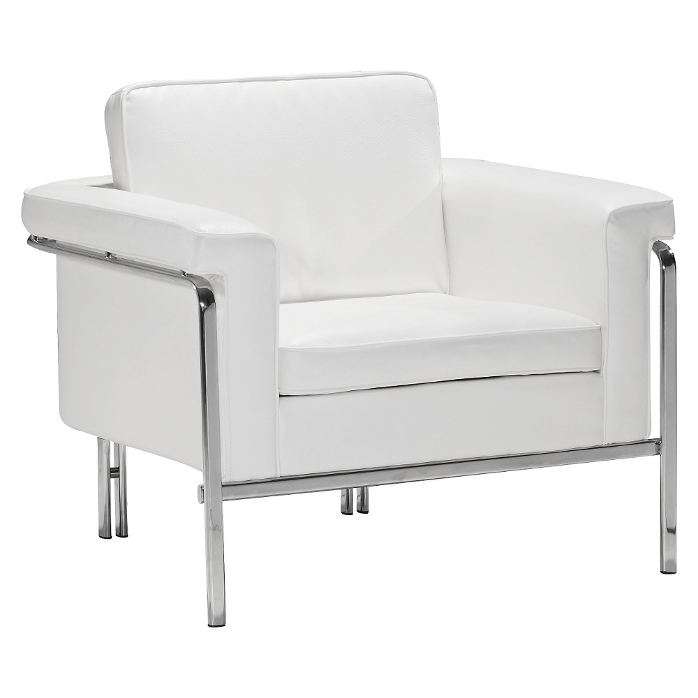 Modern Faux Leather and Chrome Arm Chair - White - ZM Home