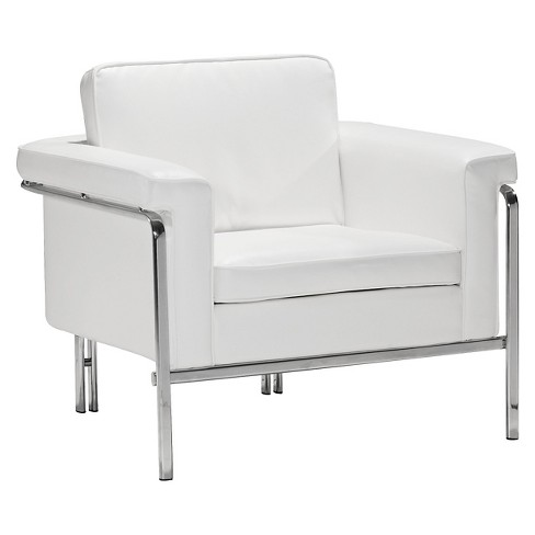 Modern Faux Leather and Chrome Arm Chair - White - ZM Home - image 1 of 5
