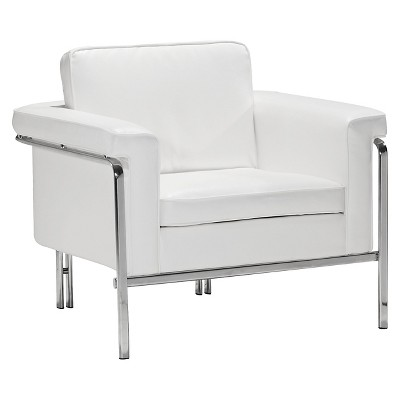 Modern Faux Leather And Chrome Arm Chair   White   ZM Home