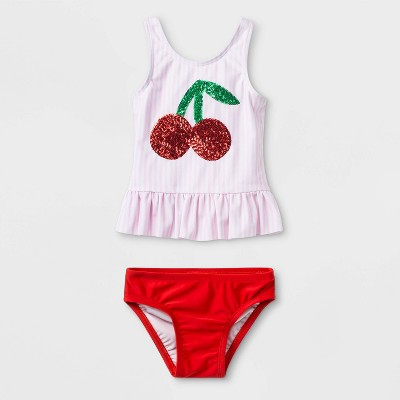 Baby Girls' Cherry Sequin Tankini - Cat & Jack™ Pink 12M