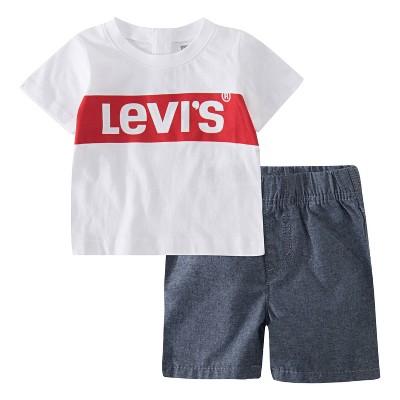 Levi's® Baby Boys' Box Tab Short Sleeve Top & Bottom Set - White 6M