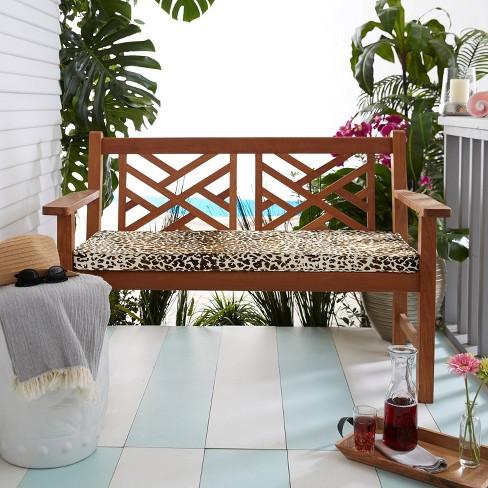 Sunbrella 45 X19 X2 Indoor Outdoor Corded Bench Cushion Espresso Leopard Target