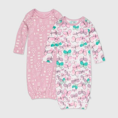 Honest Baby Baby Girls' 2pk Organic Cotton Flutter Nightgown - 0-6M