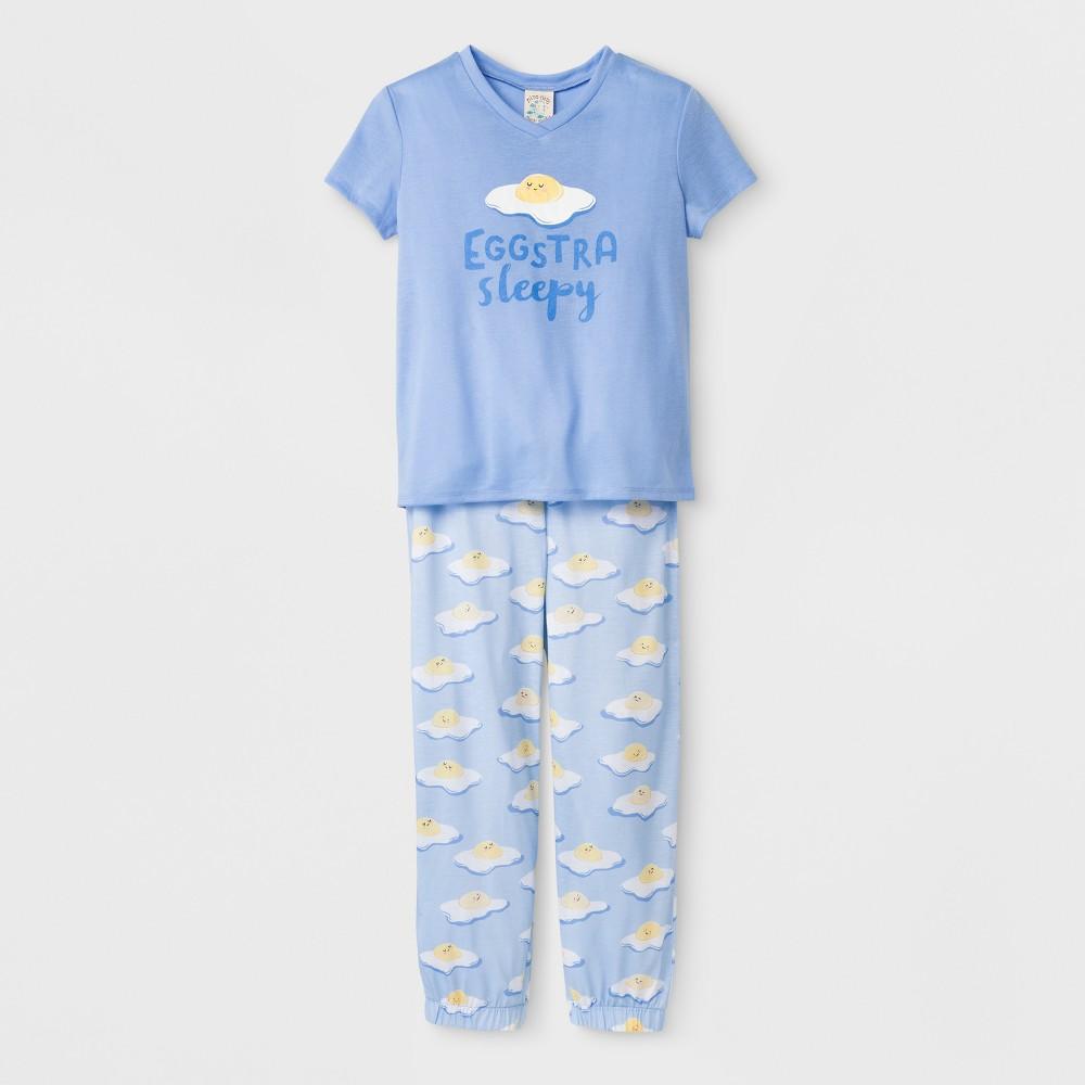 Image of petiteNite Nite Munki Munki Kids' Short Sleeve Jersey Eggstra Print Pajama Set - Blue XS, Kids Unisex