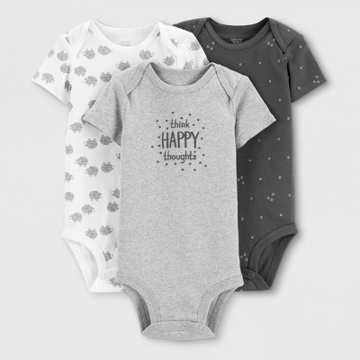 Baby Boys' 3pk Bodysuits - Just One You® made by carter's White/Gray 6M