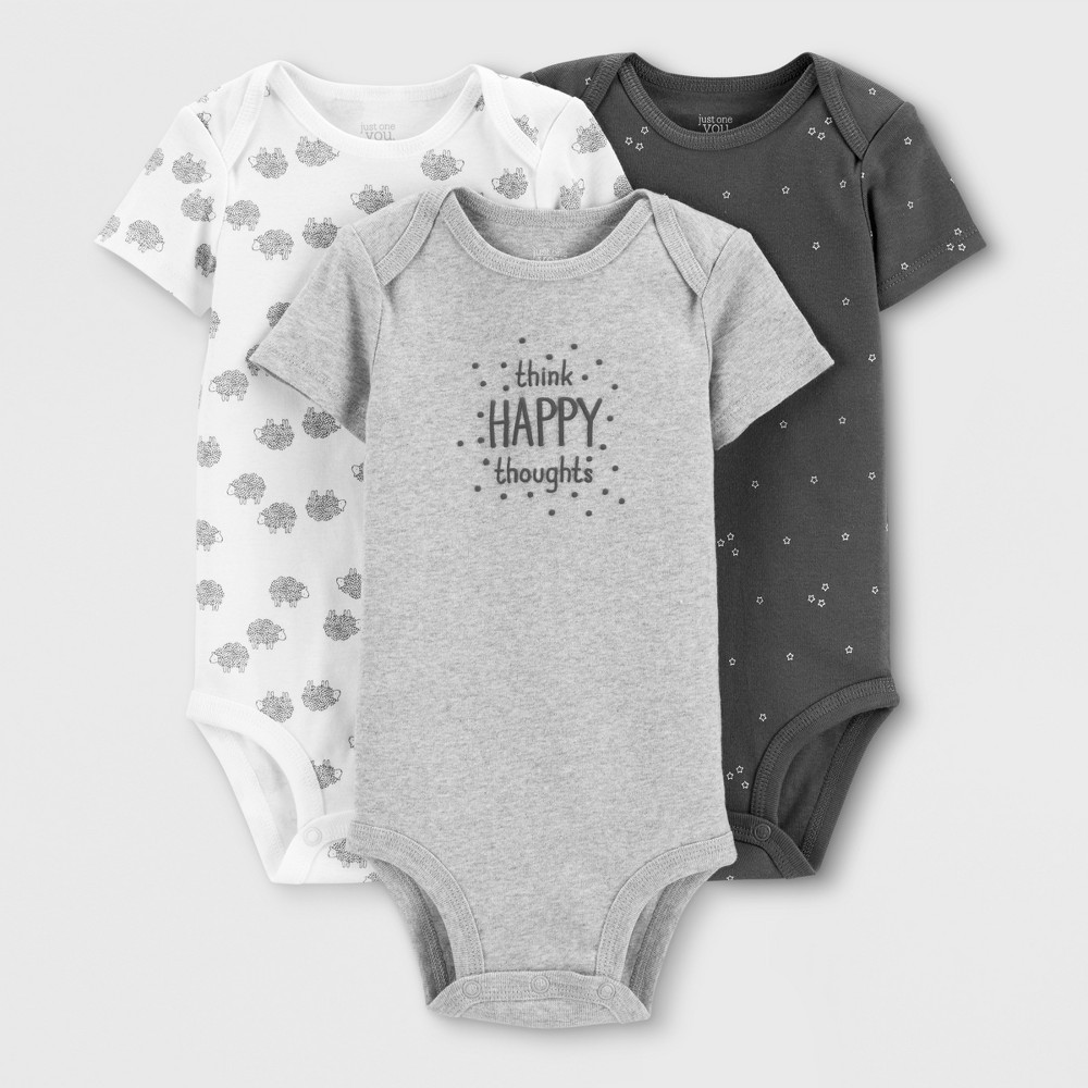 Baby Boys' 3pk Bodysuits - Just One You made by carter's White/Gray Newborn