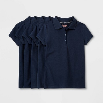 Girls' 5pk Short Sleeve Stretch Pique Uniform Polo Shirt - Cat & Jack™ Navy