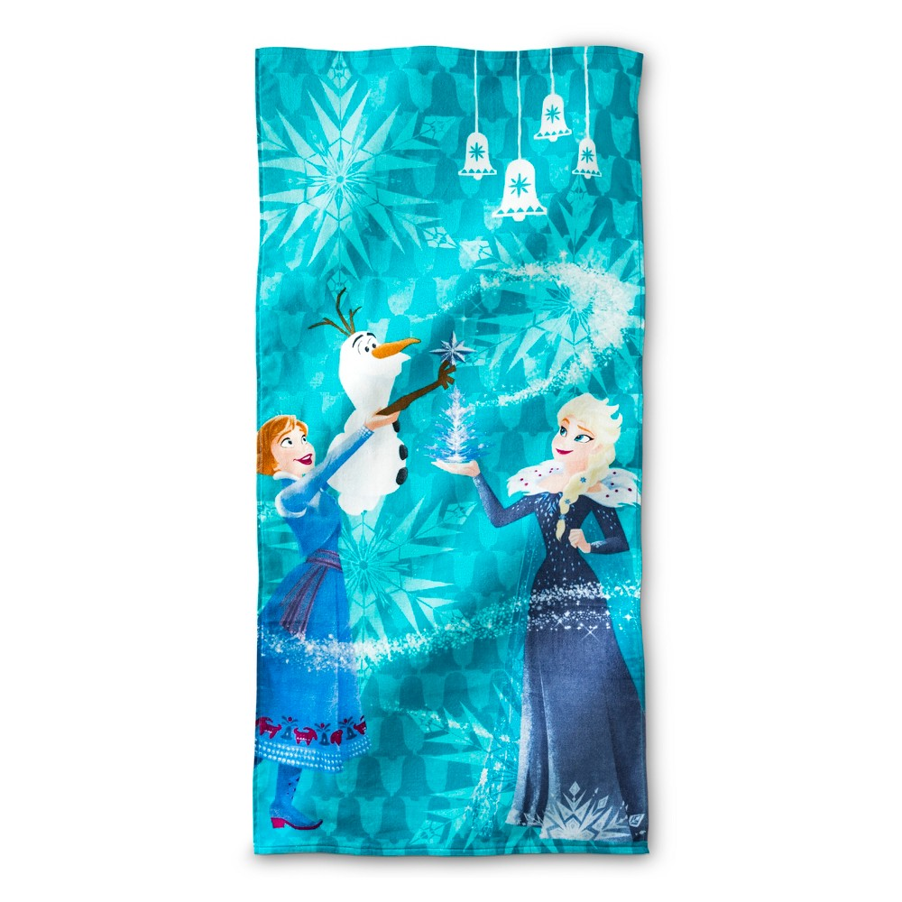 Image of Frozen Snowy Hill Beach Towel Light Blue - Frozen