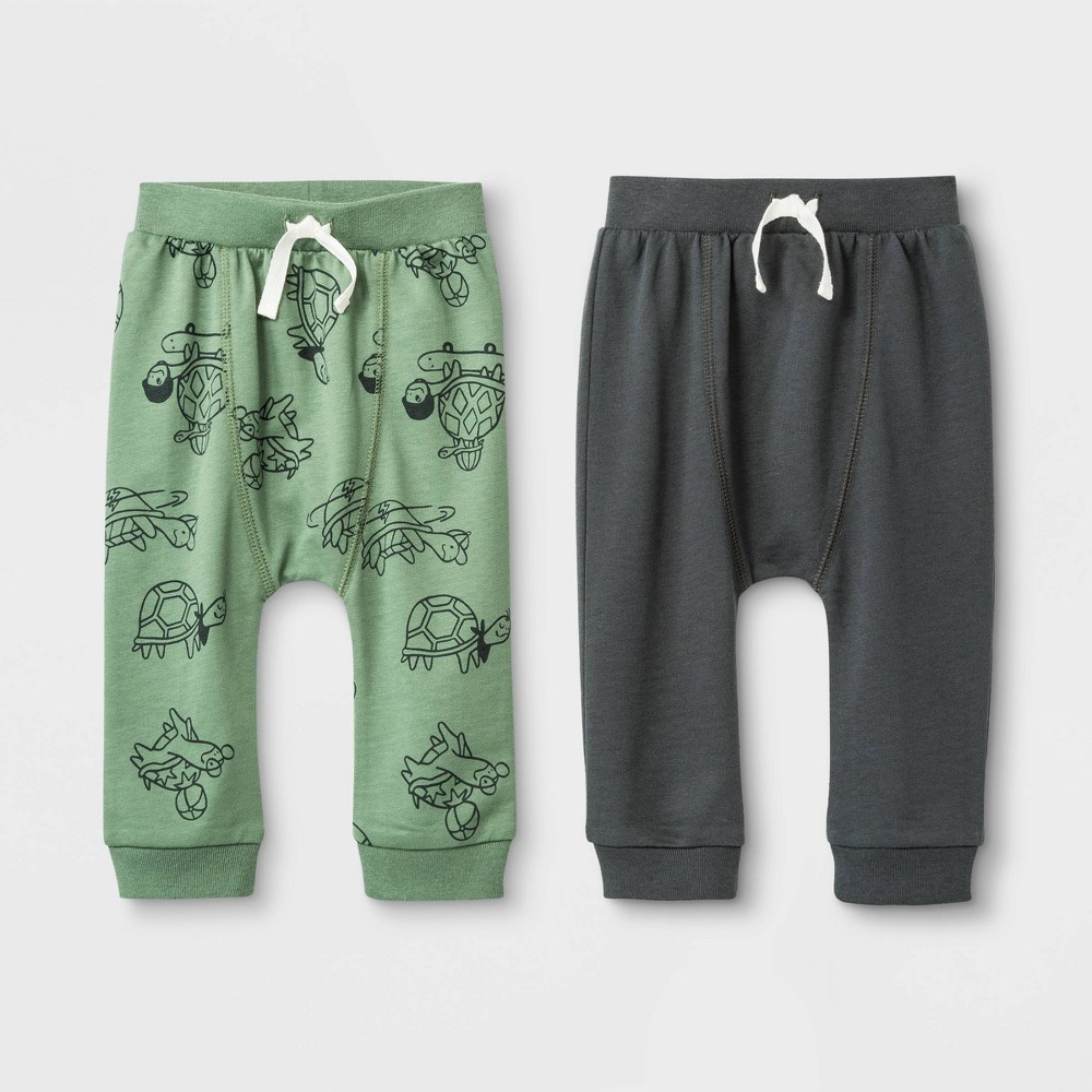 Image of Baby Boys' 2pk Harem Turtles Jogger Shorts Set - Cat & Jack Green/Gray 12 M, Boy's, Size: 12M, Gray/Green