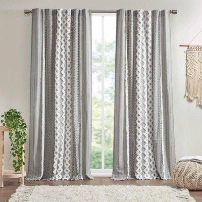 """84""""x50"""" Imani Cotton Printed Window Curtain Panel with Chenille Striped and Lining Gray"""