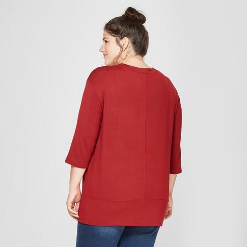 6ffaf223a88 Maternity Plus Size 3 4 Sleeve Snap Shoulder Sweatshirt - Isabel Maternity  by Ingrid   Isabel™ Red 1X   Target
