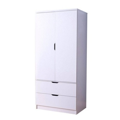 Two Door Wardrobe Metal with Two Drawers White - Benzara