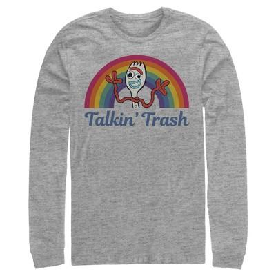 Men's Toy Story Forky Talkin' Trash Rainbow Long Sleeve Shirt