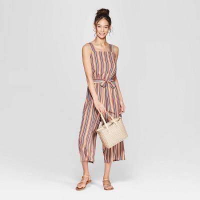 d00c1d4910b9 Women s Striped Strappy Square Neck Waist Tie Jumpsuit - Xhilaration™ Orange    Target