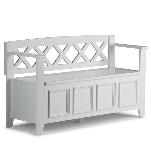 Marvelous Halifax Solid Wood Entryway Storage Bench White Wyndenhall Andrewgaddart Wooden Chair Designs For Living Room Andrewgaddartcom