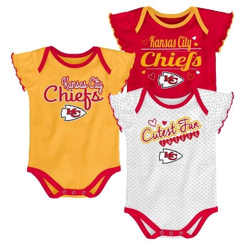 4746ecae8e3 Kansas City Chiefs Girls' Newest Fan 3pk Bodysuit Set 0-3M : Target