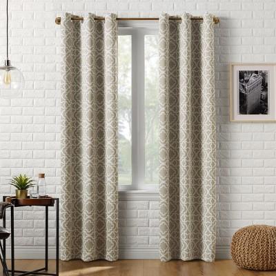 """95""""x40"""" Barnett Trellis Blackout Grommet Curtain Panel Taupe - Sun Zero"""