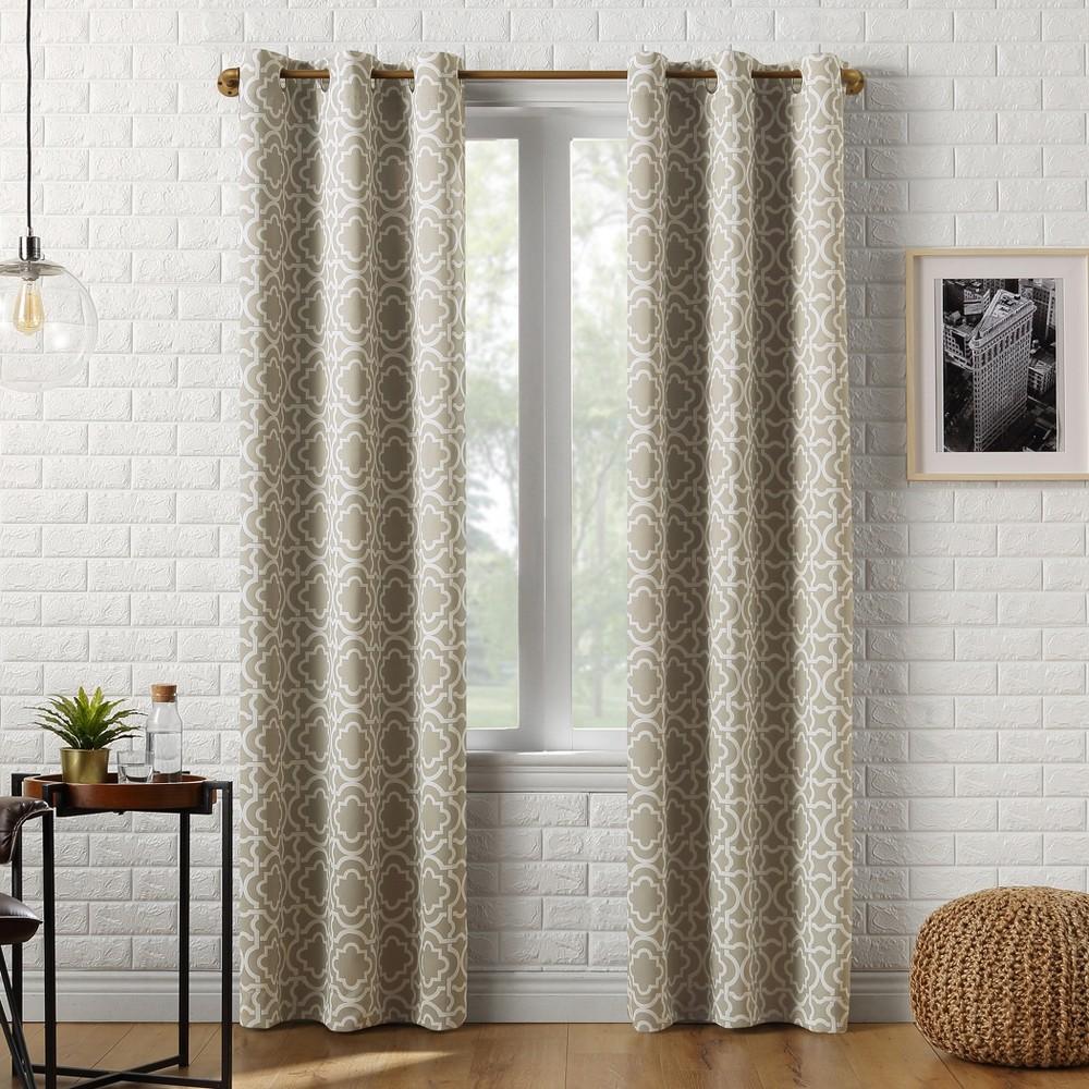 40x95 Barnett Trellis Blackout Grommet Curtain Panel Taupe-Sun Zero, Brown