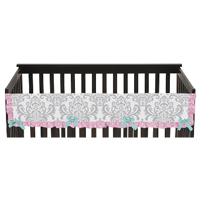 Sweet Jojo Designs Skylar Long Crib Rail Guard Cover - Pink